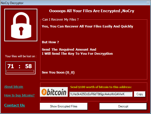 nocry ransomware pop-up ransom message stf