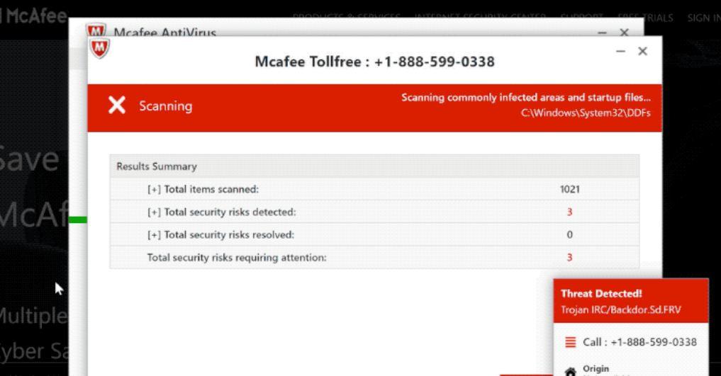 McAfee Tollfree Scam Pop-up Scan