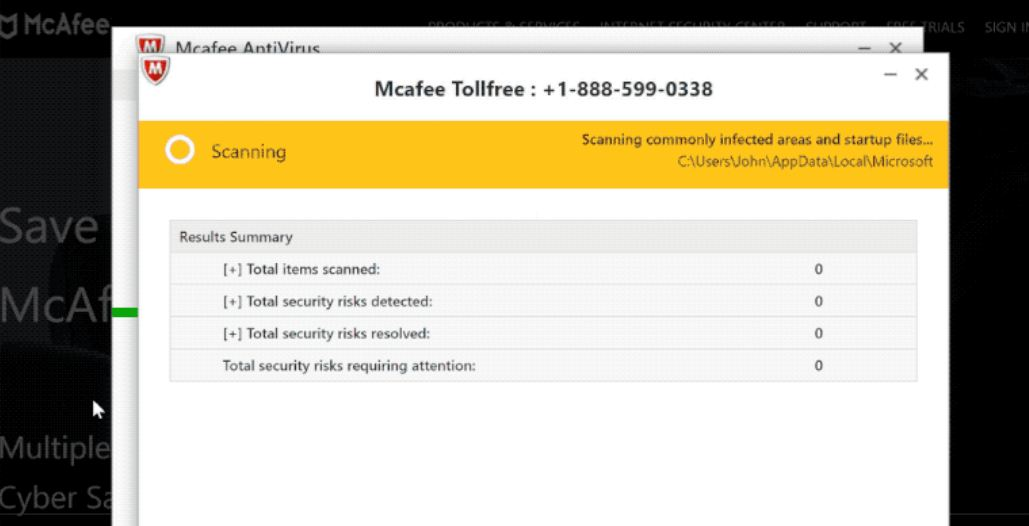 McAfee Tollfree Scam