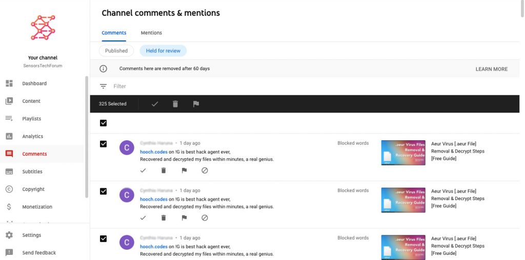 blocked spam comments