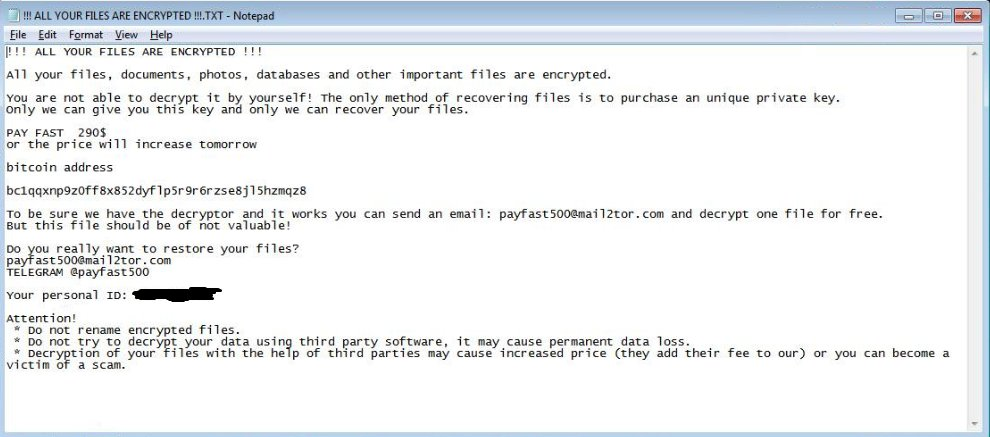 ALL YOUR FILES ARE ENCRYPTED txt ransom message Payfast500 ransomware virus