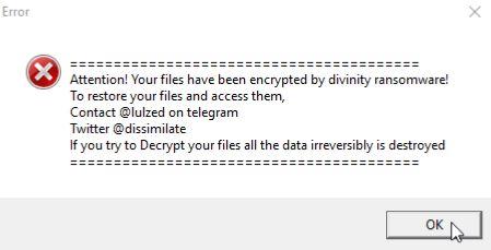 divinity ransomware virus pop-up window ransom note sensorstechforum removal guide