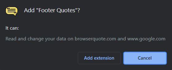 rodapé citações extensão do navegador Chrome