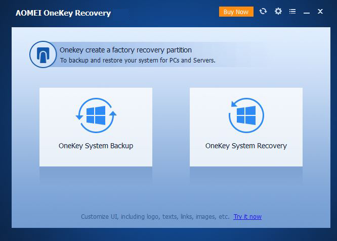 onekey recovery user interface