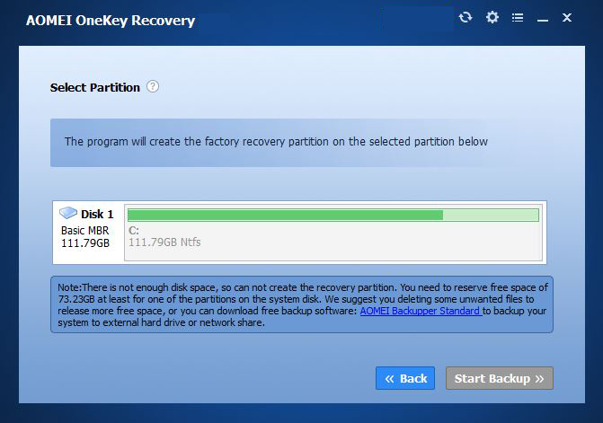 onekey recovery system choice