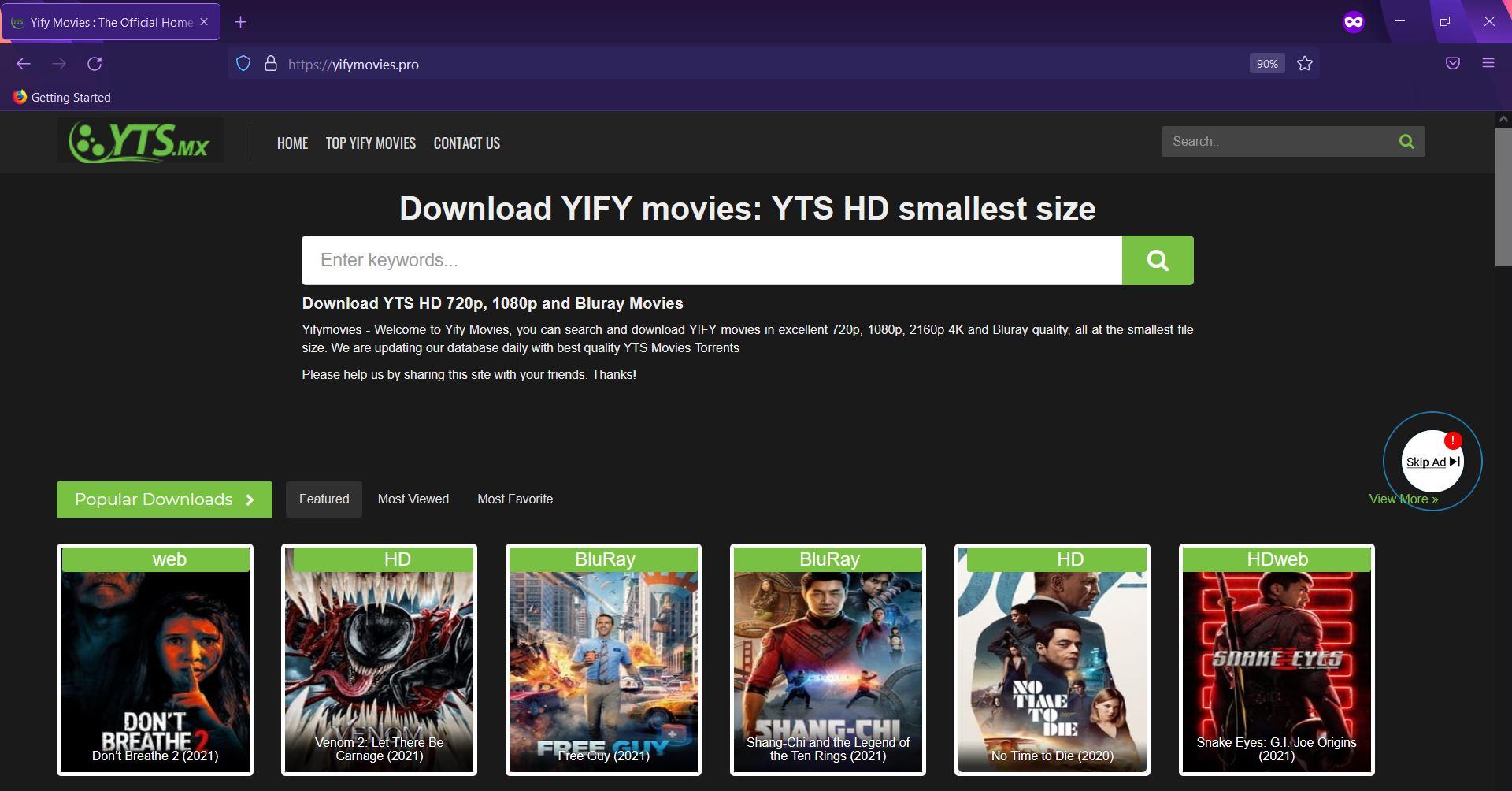 voorkomen dat advertenties van Yifymovies in de browser verschijnen